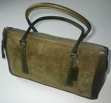 COACH VINTAGE BONNIE OLIVE GREEN SUEDE LEATHER ZIP TOTE BAG PURSE SATCHEL RARE!