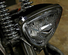 TRIANGLE SPOT HEAD LIGHT CHROME & BLACK BACK HARLEY TRIUMPH XS650 BOBBER CHOPPER