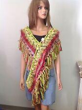 Hand Knit Cotton Eternity  Fringes Shawl Scarf Wrap Extra Long Designer Boho