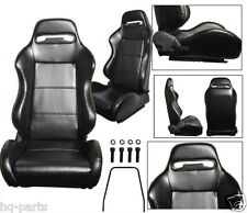PAIR BLACK PVC LEATHER + YELLOW STITCH RECLINABLE RACING SEATS FIT BMW + SLIDERS