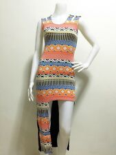 cgq - Aztec Assymetrical Dress ORANGE ( Sz Small- Medium)