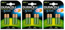 12 x DURACELL AAA 850mAh STAY CHARGED PRE RECHARGEABLE BATTERIES 5000394203822