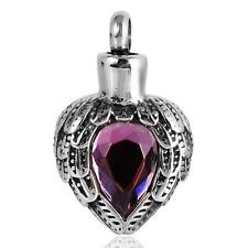 Heart Shape Urn Pendant Memorial Keepsake Cremation Jewelry Antique Silver