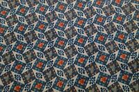 2 YARDS OF VINTAGE TEAL GREEN SQUARE PRINT COTTON FABRIC