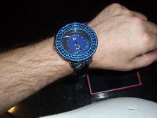 KC Watch with CZ's, Blue Crystals and black leather band - NEW in Box
