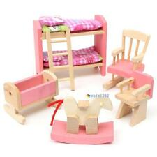 Wooden Nursery Room Doll House Furniture Miniature For Kids Play Toy Gift Hot