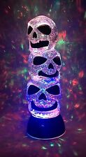 LED Lighted Color Changing Halloween III Skeleton Head Snow Globe Glitterdome