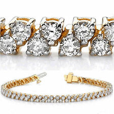 6 carat Round cut Diamond Tennis Bracelet 14k Yellow Gold H SI1 14.7 Gram