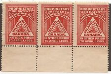 CANADA REVENUE FM1 MINT STRIP OF 3 UNLISTED HAIRLINES