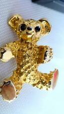 BROOCH  VINTAGE VERY PRETTY TEDDY BEAR 24CT GOLD PLATED - GORGEOUS COLOURS