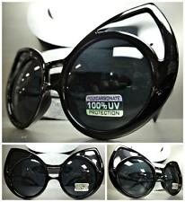 UNIQUE VINTAGE EXAGGERATED CAT EYE Style SUN GLASSES Huge Black Frame Dark Lens