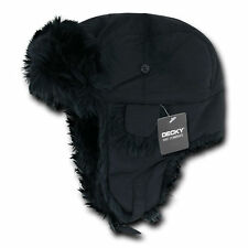 BLACK TRAPPER AVIATOR HAT Fur Bomber Cap winter ski ear flaps trooper L / XL