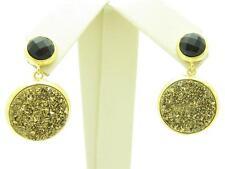 18KT GOLD STERLING DIAMOND SET BLACK ONYX GOLD DRUZY DANGLE CHANDELIER EARRINGS