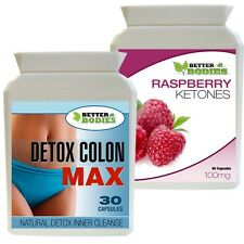 60 RASPBERRY KETONES & 30 DETOX COLON CLEANSE COMBO FAT BURN SLIMMING DIET PILLS