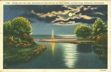 Kenosha, WI Campfire under Moonlight at the Pike Creek Outlet, Alford Park 1936