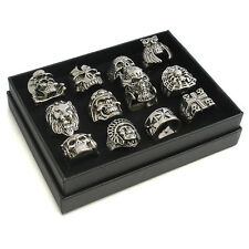 Wholesale MENS GOTHIC BIKER PUNK SKULL STEEL RINGS and Display- 12 Styles- 33-71