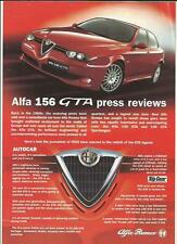ALFA ROMEO 156 GTA CAR SALES 'BROCHURE' SHEET PRESS REVIEWS LATE 90's