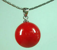 Pretty 14mm Red Coral Color Shell Pearl Bead Pendant and Necklace