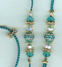 NEW! BEADED DOG SHOW LEAD LEASH/SLIP/TOY/TURQUOISE