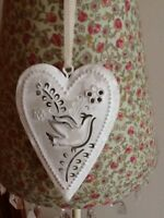 SHABBY CHIC METAL DOVE IN A HEART HANGING DECORATION