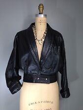 Vtg 80s Wrap Leather Snap Waist Shawl Collar Dolman Roll Cuff Jacket Black M 38