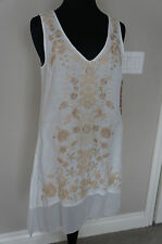 NEW Johnny Was JWLA Embroidered Linen Long Tank Tunic Blouse Top Dress S White