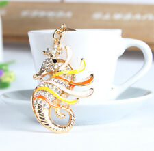 New Hippocampal Sea Horse Lovely Pendant Rhinestone Crystal Key Ring Chain Gift