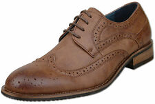 Mens Brown Lace Up Formal Oxford Brogue Fashion Shoes UK Size 11