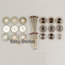18 Diamond Polisher Wheel Saw Disc Dental Plaster Resin Cutter+10 HP Mandrels