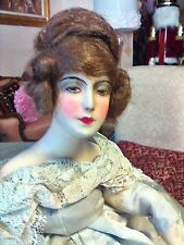 EXCEPTIONAL BOUDOIR  DOLL  IN  FRAME  CIRCA  1920s  ALL ORIGINAL DRESS  MUST SEE
