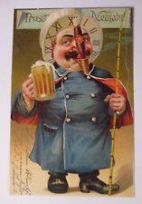 """""""Neujahr, Männer, Bier, Zigarre, Uhr"""" 1900, Prägekarte ♥ (38202)"""