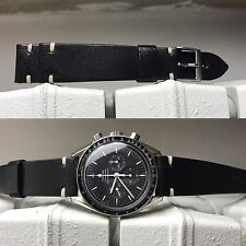 Black Leather Strap cinturino armband bracelet cuir 20/16mm vintage chronograph