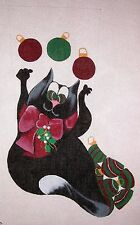 KW 1264 Juggle Ornaments Cat Christmas Stocking Hand Painted Needlepoint Canvas
