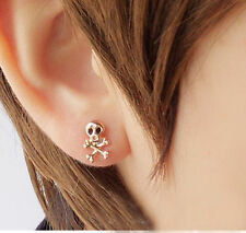 1pair Punk Men's Women Silver Stainless Steel Skull Screw Stud Earring 1.5*1.1cm