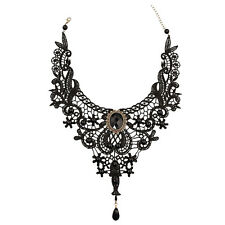 K9 Gothic Victorian Black Lace Choker Necklace Metal Cameo Steampunk Cosplay