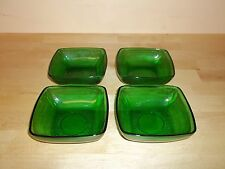 DEPRESSION GLASS CHARM FOREST GREEN(ANCHOR HOCKING)FOUR BOWLS