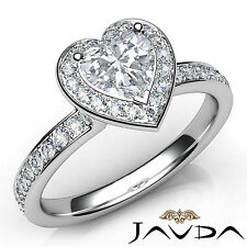 Gorgeous Heart Diamond Engagement Halo Pave Ring GIA G VS2 18k White Gold 1.18Ct
