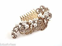 Beautiful Vintage Style Pearl Crystal Gold Tone Hair Comb Slide Bridal Prom