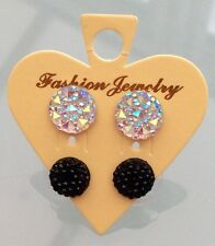 Small Round Sparkly Clear Ab  & Black Crystal Diamante Rhinestone Stud Earrings