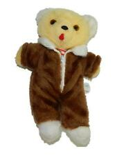 "Bantam 13"" Vintage Plush Yellow Teddy Bear Brown Zippered Outfit Suit Lovey"