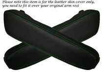 GREEN STITCHING FITS BMW E34 E32 2X LEATHER ARMREST SKIN COVERS ONLY