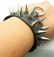 TEW126 20mm Metal Spike Studs Ring Leather Short Bracer Bracelet Wristband Punk