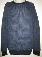 BILLY REID ' Textured Crew ' Sweater Crew Neck Blue / Navy Alpaca Wool Sz L $195