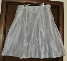 Talbots Silver 100% Silk Below Knee Lined Full Skirt 12 Large L
