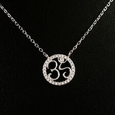 STERLING SILVER NECKLACE WITH SPARKLING CRYSTAL OM YOGA BUDDHA OHM AUM PENDANT.