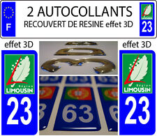 2 stickers plaque immatriculation auto TUNING DOMING RESINE REGION LIMOUSIN 23