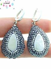 925 Silver Sterling Druzy Handmade Turkish Jewelry Quality Pearl Earrings A1916