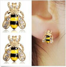 Hot Style New Jewelry Bumble Bee Crystal Earrings Rhinestone Ear Stud Animal