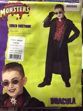 DRACULA CHILD COSTUME WITH GLASSES UNIVERSAL STUDIOS MONSTERS SIZE LARGE RUBIES