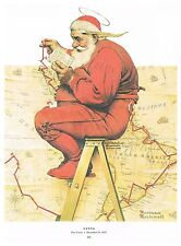 "Norman Rockwell print ""SANTA CLAUS PLANS HIS TRIP"" Christmas Holiday gifts"